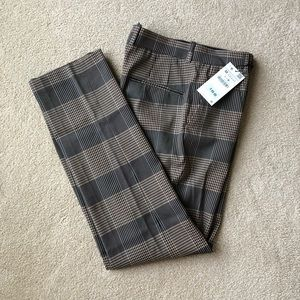 Zara Woman Black and Tan Plaid Trousers